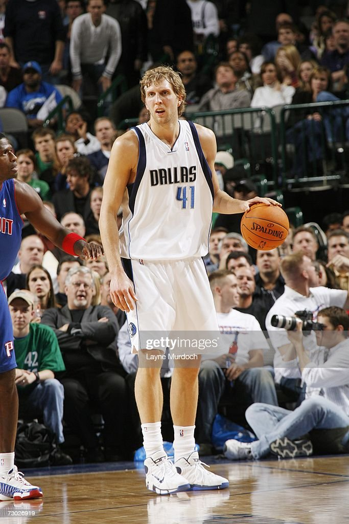 Dirk Nowitzki #41 of the Dallas Mavericks moves the ball against the Detroit Pistons during an NBA game on December 7, 2006 at the American Airlines Center in Dallas, Texas.