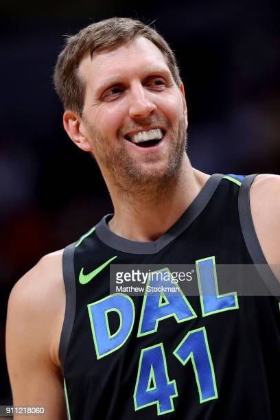 Dirk Nowitzki of the Dallas Mavericks plays the Denver Nuggets at the Pepsi Center on January 27 2018 in Denver Colorado NOTE TO USER User expressly...