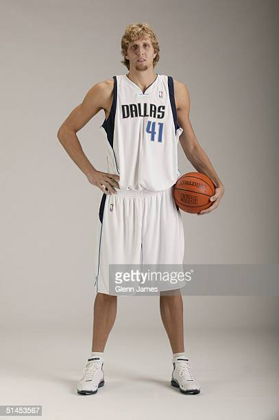 Dirk Nowitzki of the Dallas Mavericks poses for a portrait during NBA Media Day on October 4 2004 in Dallas Texas NOTE TO USER User expressly...