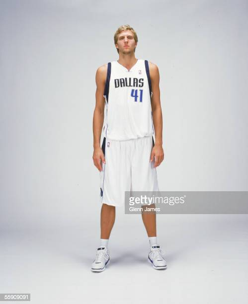 Dirk Nowitzki of the Dallas Mavericks poses for a portrait during NBA Media Day on October 3 2005 at American Airlines Arena in Dallas Texas NOTE TO...