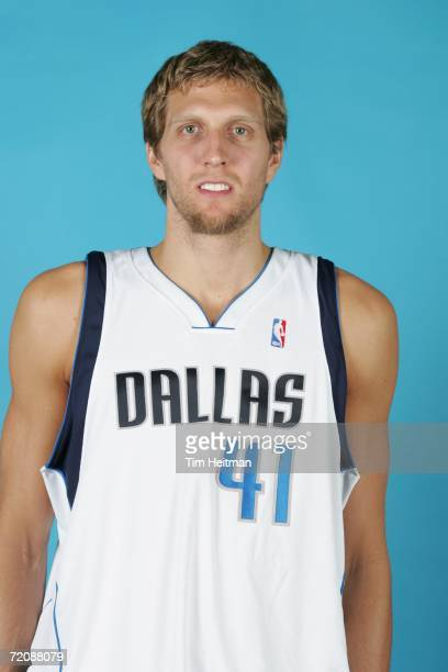 Dirk Nowitzki of the Dallas Mavericks poses for a portrait during 2006 Media Day at the American Airlines Center on October 2 2006 in Dallas Texas...