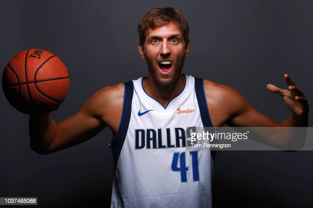 Dirk Nowitzki of the Dallas Mavericks poses for a portrait during the Dallas Mavericks Media Day held at American Airlines Center on September 21...