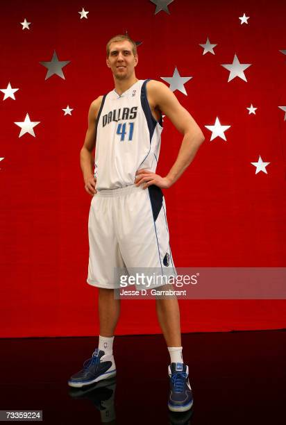 Dirk Nowitzki of the Dallas Mavericks poses for a portrait on AllStar Saturday NIght during the NBA AllStar Weekend on February 17 2007 at the Thomas...
