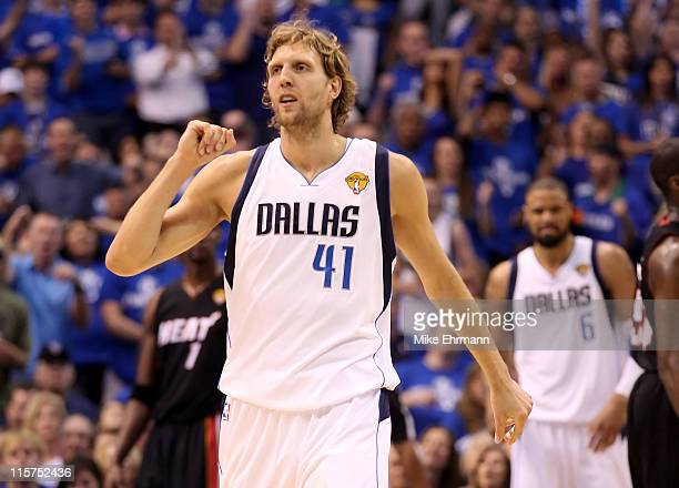 Dirk Nowitzki of the Dallas Mavericks reacts aftre he made a basket in the first quarter against the Miami Heat in Game Five of the 2011 NBA Finals...