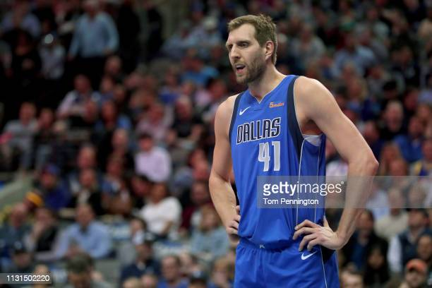 Dirk Nowitzki of the Dallas Mavericks reacts to a call while taking on the Denver Nuggets at American Airlines Center on February 22 2019 in Dallas...