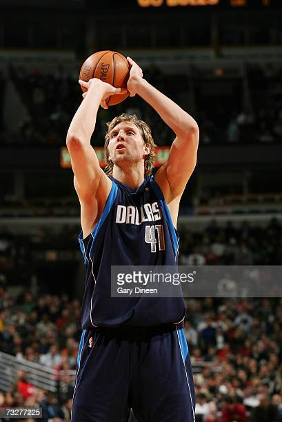 Dirk Nowitzki of the Dallas Mavericks shoots a free throw against the Chicago Bulls on January 25, 2007 at the United Center in Chicago, Illinois....