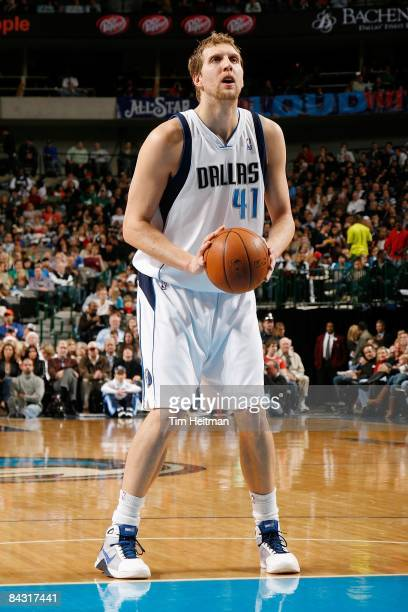 Dirk Nowitzki of the Dallas Mavericks shoots a free throw during the game against the Memphis Grizzlies on December 23 2008 at American Airlines...