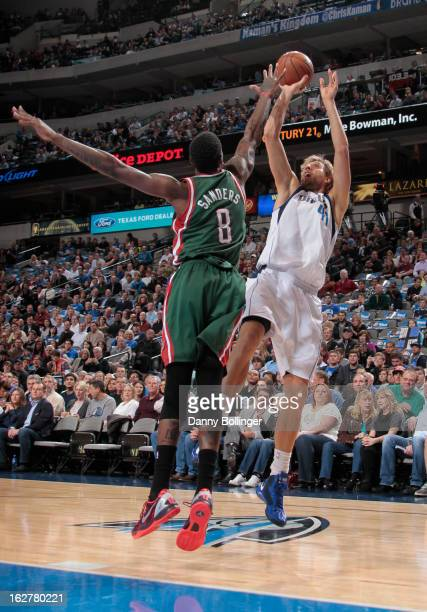 Dirk Nowitzki of the Dallas Mavericks shoots a jumper against Larry Sanders of the Milwaukee Bucks on February 26 2013 at the American Airlines...