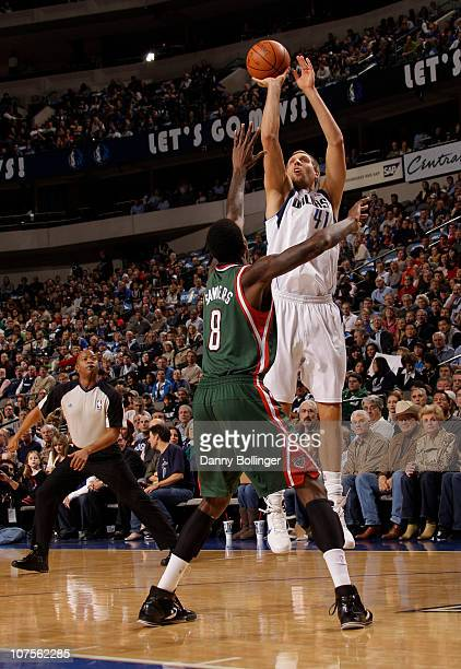 Dirk Nowitzki of the Dallas Mavericks shoots against Larry Sanders of the Milwaukee Bucks during a game on December 13 2010 at the American Airlines...