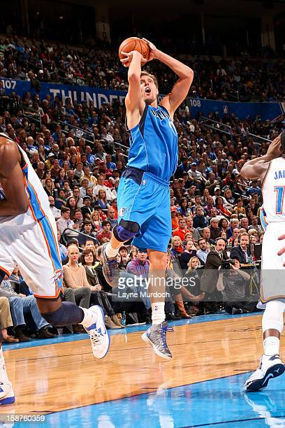 Dirk Nowitzki of the Dallas Mavericks shoots against the Oklahoma City Thunder on December 27 2012 at the Chesapeake Energy Arena in Oklahoma City...