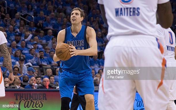 Dirk Nowitzki of the Dallas Mavericks shoots against the Oklahoma City Thunder during Game Five of the Western Conference Quarterfinals during the...