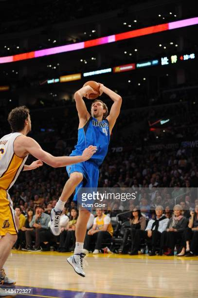 Dirk Nowitzki of the Dallas Mavericks shoots the ball against the Los Angeles Lakers on April 15 2012 in Los Angeles California NOTE TO USER User...
