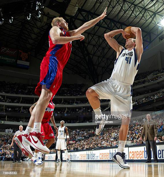 Dirk Nowitzki of the Dallas Mavericks shoots the ball against the Los Angeles Clippers on April 9, 2007 at the American Airlines Center in Dallas,...