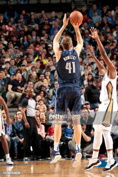Dirk Nowitzki of the Dallas Mavericks shoots the ball against the New Orleans Pelicans on December 26 2018 at the American Airlines Center in Dallas...