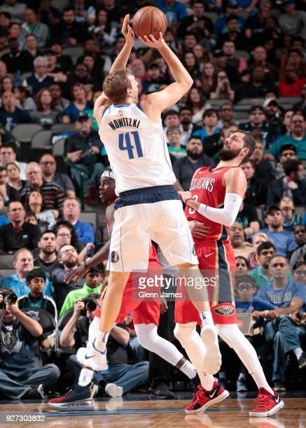 Dirk Nowitzki of the Dallas Mavericks shoots the ball against the New Orleans Pelicans on March 4 2018 at the American Airlines Center in Dallas...