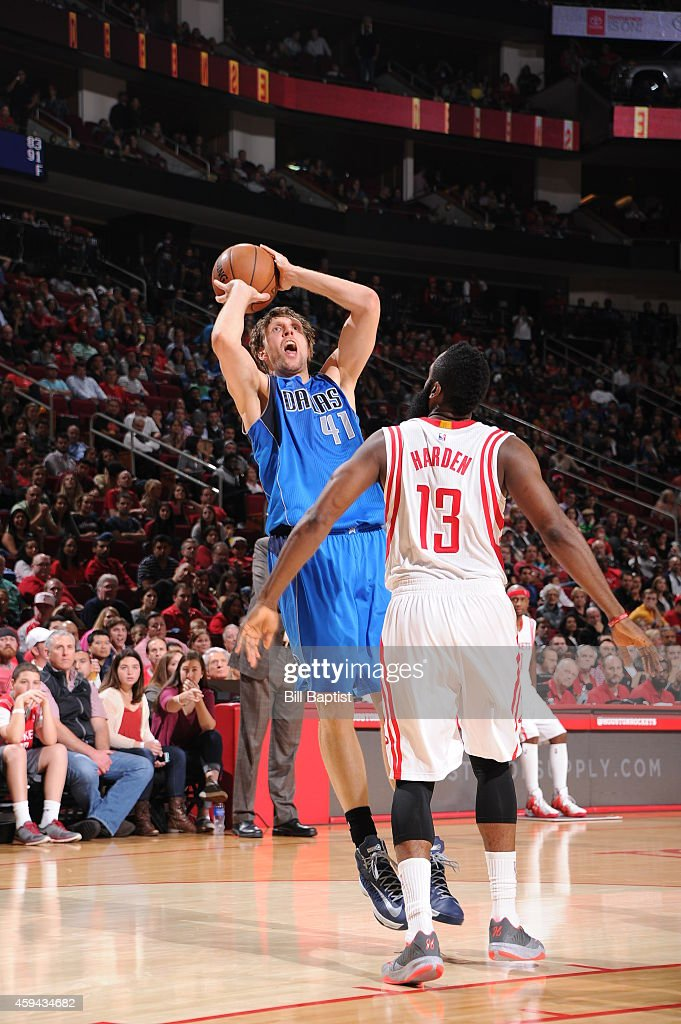 Dirk Nowitzki #41 of the Dallas Mavericks shoots the ball against the Houston Rockets during the game on November 22, 2014 at the Toyota Center in Houston, Texas.
