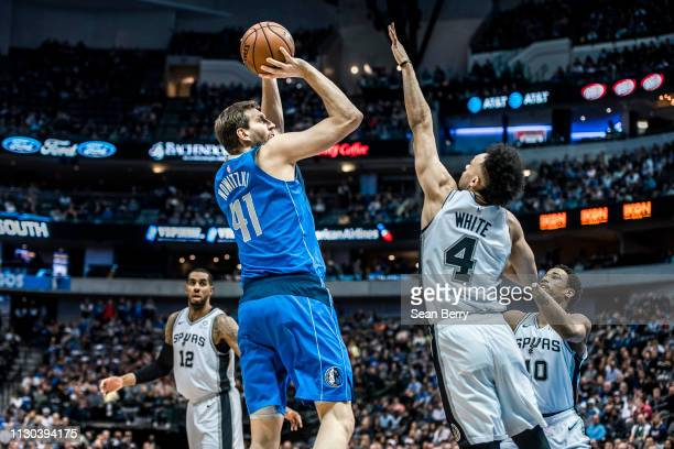 Dirk Nowitzki of the Dallas Mavericks shoots the ball against the San Antonio Spurs on March 12, 2019 at the American Airlines Center in Dallas,...