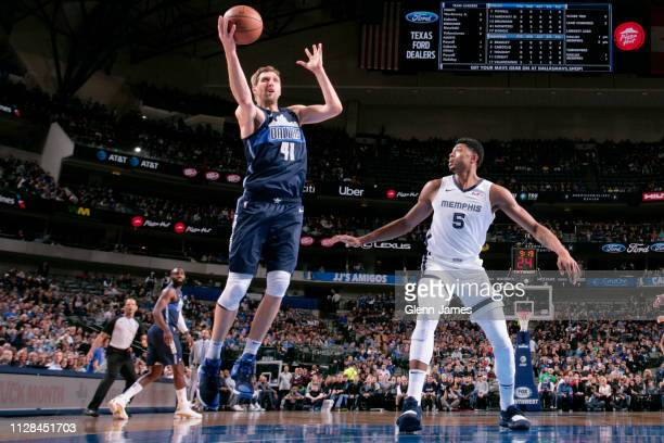 Dirk Nowitzki of the Dallas Mavericks shoots the ball during the game against the Memphis Grizzlies on March 2 2019 at the American Airlines Center...
