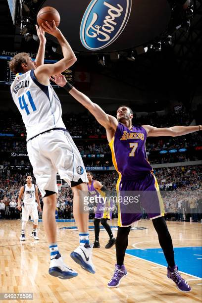 Dirk Nowitzki of the Dallas Mavericks shoots the ball to score his 30000th career point during the game against the Los Angeles Lakers on March 7...