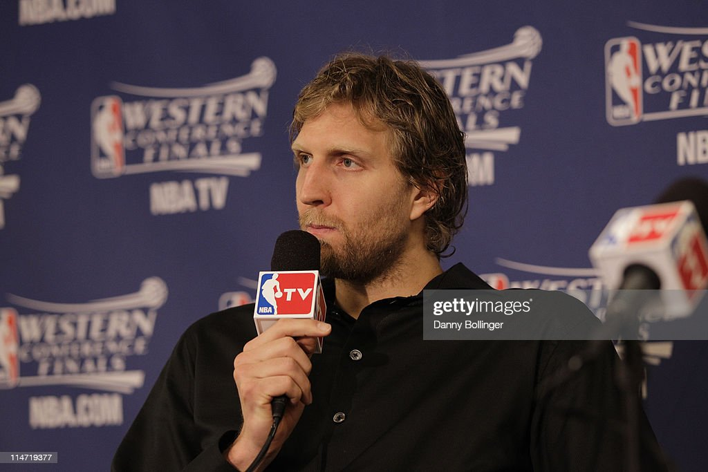 Dirk Nowitzki of the Dallas Mavericks speaks to the media after the Mavericks defeated the Oklahoma City Thunder 100-96 in Game Five of the Western Conference Finals in the 2011 NBA Playoffs on May 25, 2011 at the American Airlines Center in Dallas, Texas.