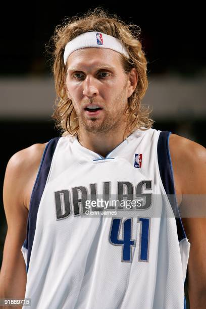 Dirk Nowitzki of the Dallas Mavericks takes a break from the action during the preseason game against the Memphis Grizzlies on October 11 2009 at...