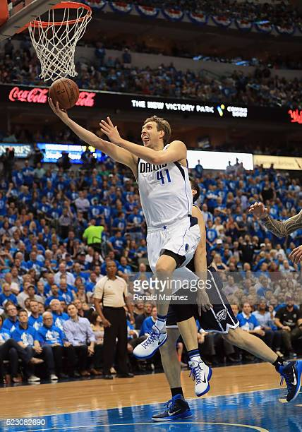 Dirk Nowitzki of the Dallas Mavericks takes a shot against the Oklahoma City Thunder during game three of the Western Conference Quarterfinals of the...