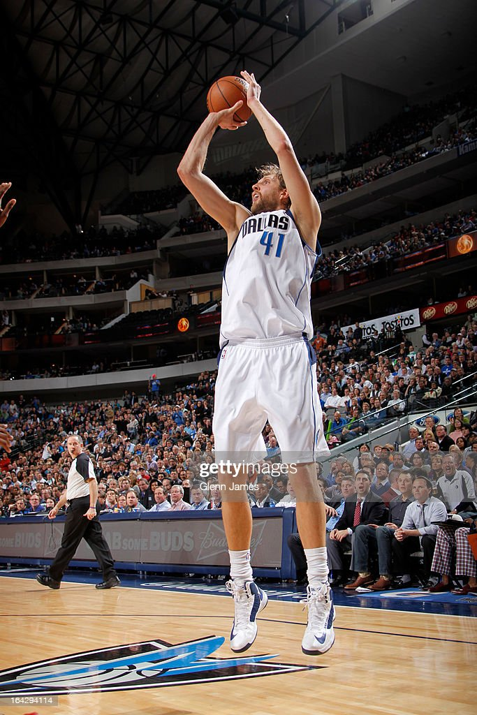 Dirk Nowitzki #41 of the Dallas Mavericks takes a shot against the Houston Rockets on March 6, 2013 at the American Airlines Center in Dallas, Texas.