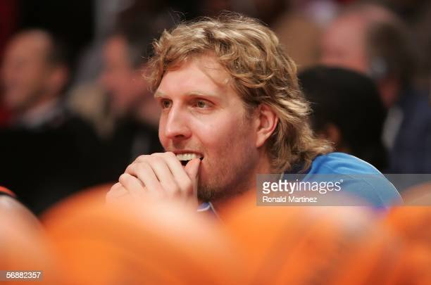 Dirk Nowitzki of the Dallas Mavericks waits to shoot in the Footlocker ThreePoint Shootout competition during NBA AllStar Weekend at the Toyota...