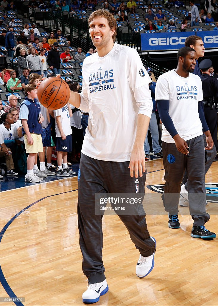 Dirk Nowitzki #41 of the Dallas Mavericks warms up before the game against the Washington Wizards on December 12, 2015 at the American Airlines Center in Dallas, Texas.