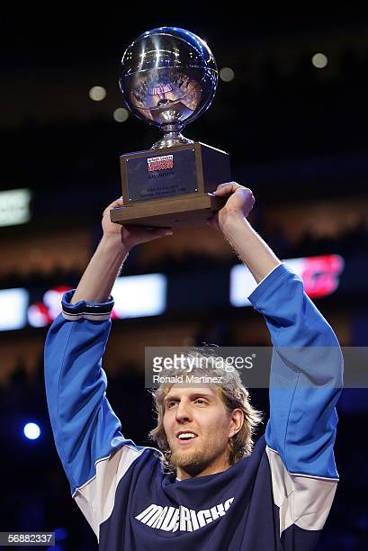 Dirk Nowitzki of the Dallas Mavericks wins the Footlocker ThreePoint Shootout competition during NBA AllStar Weekend at the Toyota Center on February...