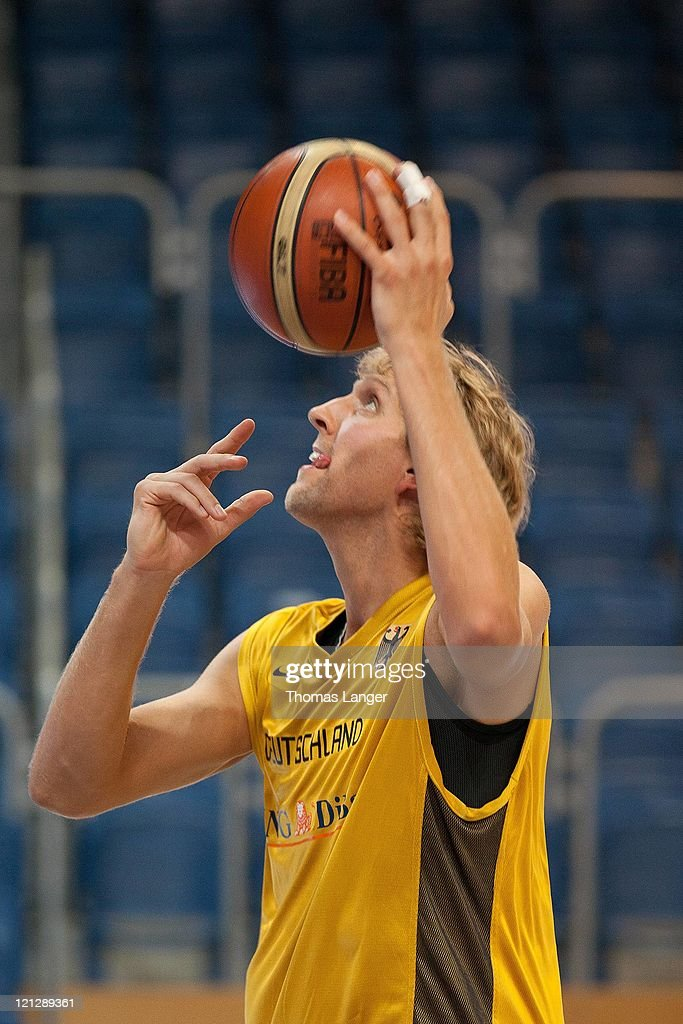 Dirk Nowitzki of the German national basketball team concentrates during a public training session at the Stechert-Arena on August 17, 2011 in Bamberg, Germany.
