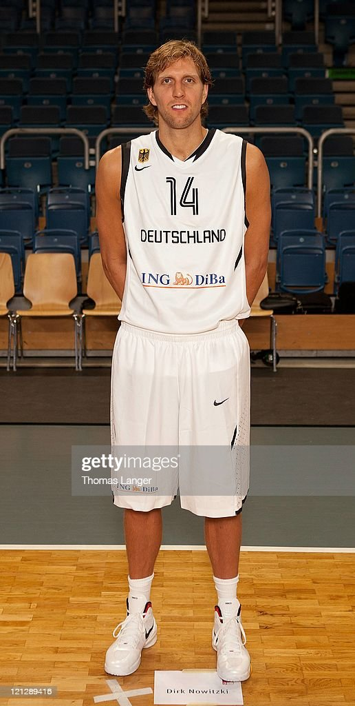 Dirk Nowitzki of the German national basketball team poses during the team presentation at the Stechert-Arena on August 17, 2011 in Bamberg, Germany.
