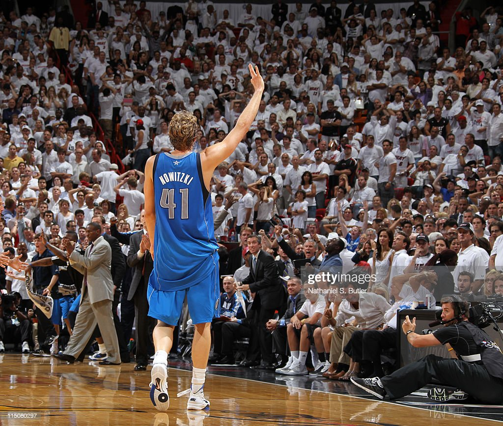 Dirk Nowitzki #41 of the Miami Heat celebrates during Game Two of the 2011 NBA Finals on June 02, 2011 at the American Airlines Arena in Miami, Florida.