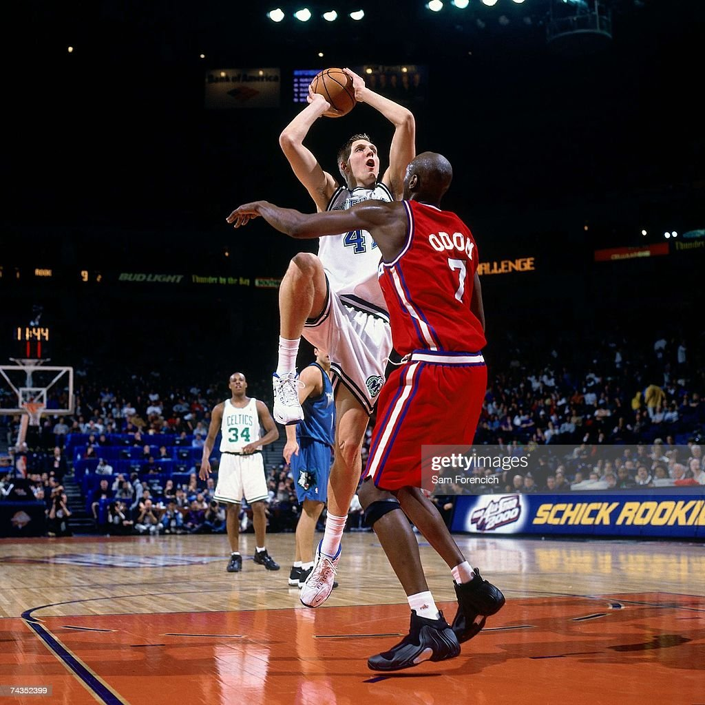 Dirk Nowitzki Of The Sophmores Attempts A Shot Against