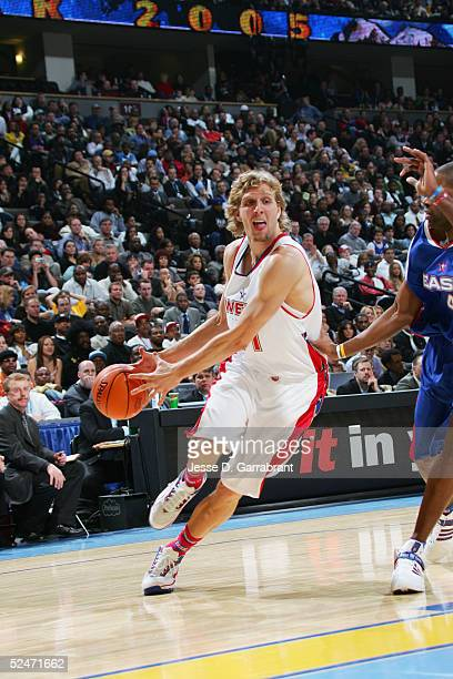 Dirk Nowitzki of the Western Conference AllStars moves the ball during the 54th AllStar Game part of 2005 NBA AllStar Weekend at Pepsi Center on...