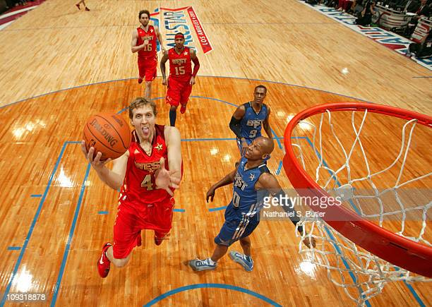 Dirk Nowitzki of the Western Conference AllStars shoots against the Western Conference AllStars during the 2011 NBA AllStar Game on February 20 2011...