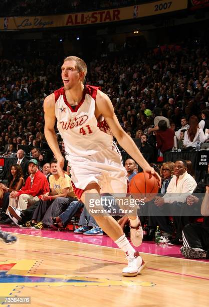 Dirk Nowitzki of the Western Conference drives against the Eastern Conference during the 2007 NBA AllStar Game on February 18 2007 at the Thomas Mack...