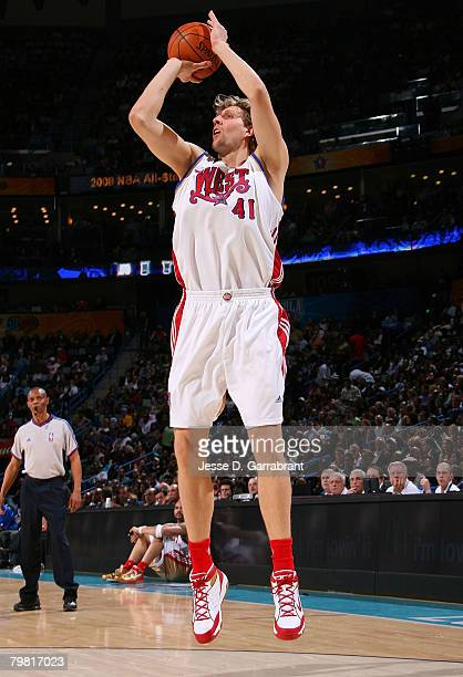 Dirk Nowitzki of the Western Conference during the 2008 NBA AllStar Game part of 2008 NBA AllStar Weekend at the New Orleans Arena on February 17...