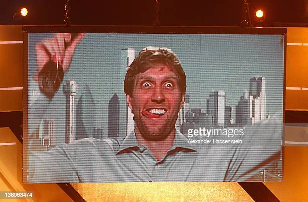 Dirk Nowitzki reacts at live TV from USA after being awarded as 'Athlete of the Year 2011' at the Kurhaus Baden-Baden on December 18, 2011 in...