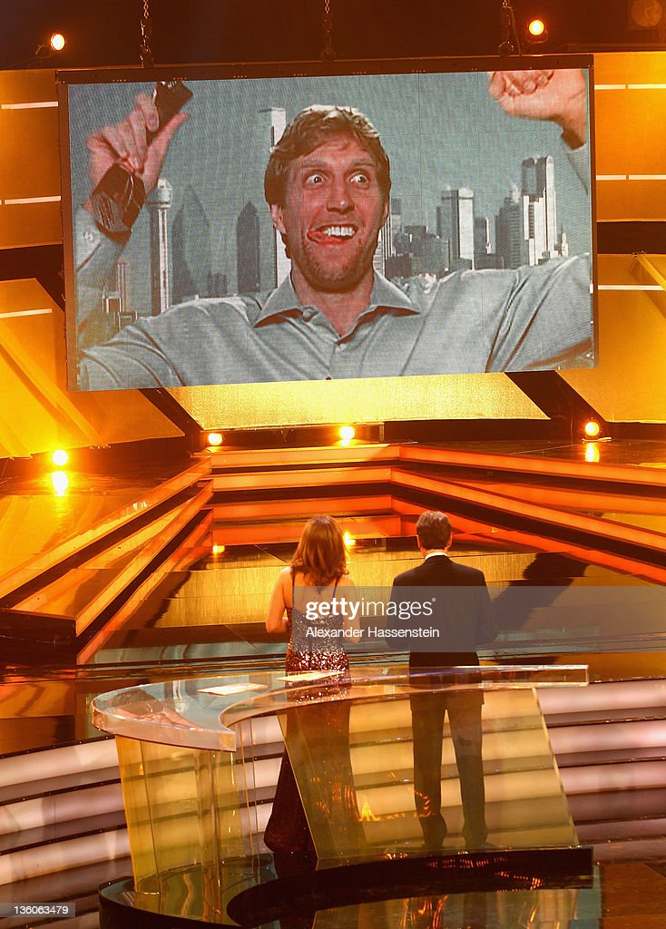 Dirk Nowitzki reacts at live TV from USA after being awarded as 'Athlete of the Year 2011' at the Kurhaus Baden-Baden on December 18, 2011 in Baden-Baden, Germany.