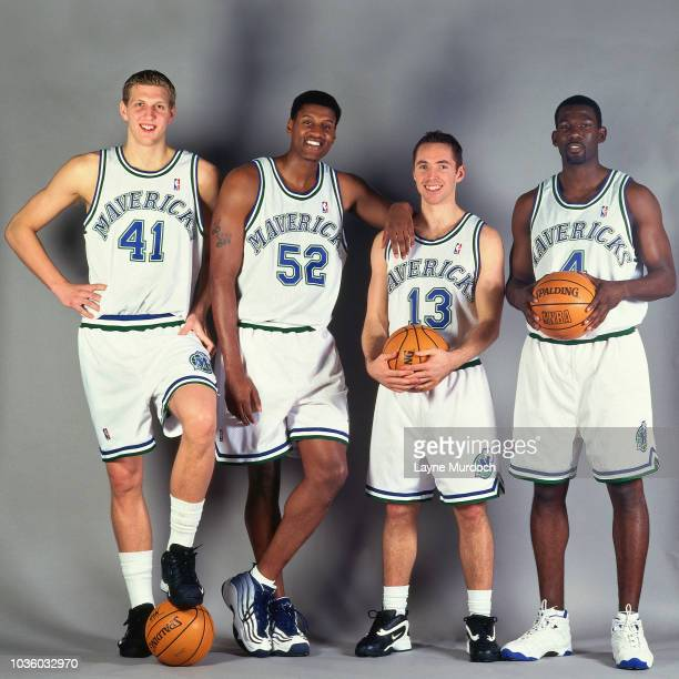 Dirk Nowitzki Samaki Walker Steve Nash and Michael Finley of the Dallas Mavericks poses for a photo during Media Day on January 23 1999 at Reunion...