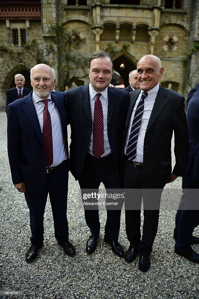 Dirk Rossmann, Prince Alexander zu Schaumburg-Lippe and Martin Kind attend the official opening of the 'Der Weg zur Krone - Das Koenigreich Hannover und seine Herrscher' ('The Road to the Crown - The Kingdom of Hanover and Its Rulers) exhibition at Schloss Marienburg at Schloss Marienburg on April 30, 2014 in Pattensen, Germany. The city of Hanover is scheduled to hold a celebration for the British Royal Family to mark the '300-year personal union' in May and June this year. Prince Andrew, Duke of York, is expected to take part in the celebrations in June.