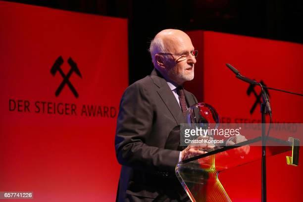 Dirk Rossmann speaks after winning the charity award during the Steiger Award on at Coal Mine Hansemann Alte Kaue March 25 2017 in Dortmund Germany