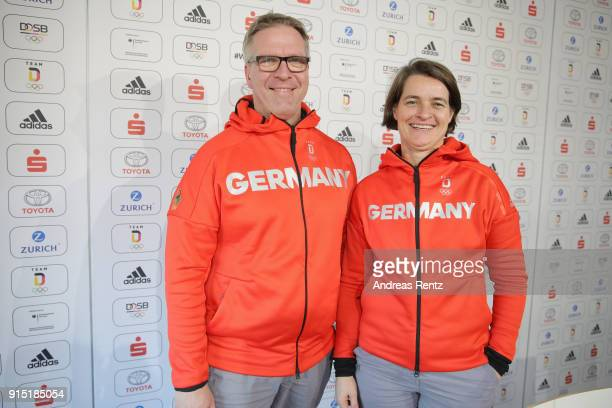 Dirk Schimmelpfennig and Veronika Ruecker of the DOSB attend the opening press conference 'Olympia Team Deutschland' at the German House during...