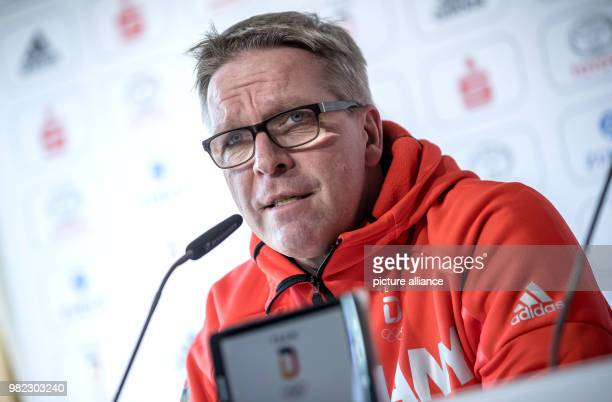 Dirk Schimmelpfennig head of mission of the German Olympic Sports Federation speaking during the inaugural press conference of the German squad in...