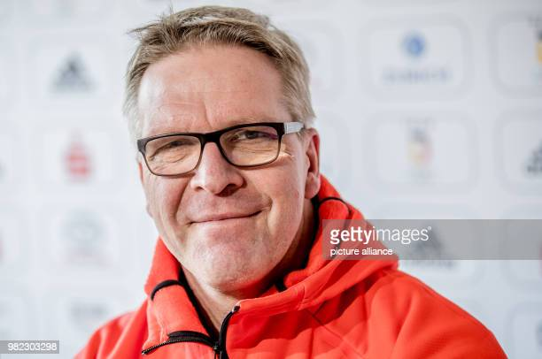 Dirk Schimmelpfennig head of mission of the German Olympic Sports Federation smiling during the inaugural press conference of the German squad in...
