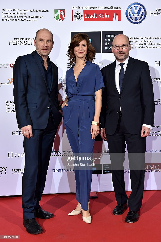 Dirk Schubert, Christina Hecke and Franz-Josef Lersch-Mense attend the German television award by the Deutsche Akademie fuer Fernsehen at Museum Ludwig on November 28, 2015 in Cologne, Germany.