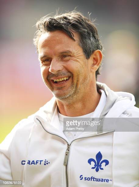 Dirk Schuster head coach of SV Darmstadt 98 before the Second Bundesliga match between SSV Jahn Regensburg and SV Darmstadt 98 at Continental Arena...