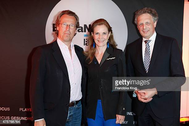 Dirk van Haeften, Billy Wasmuth and Andreas Mayer attend the BurdaNews Night on June 03, 2015 in Hamburg, Germany.