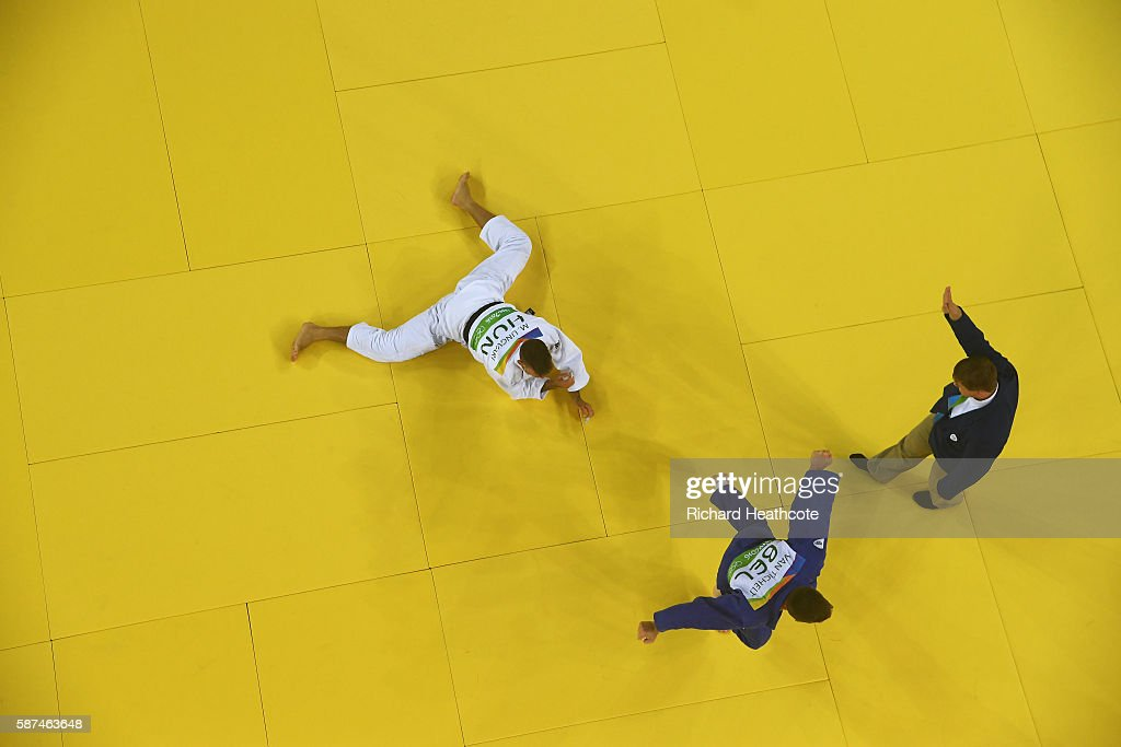Dirk van Tichelt of Belgium celebrates after defeating Miklos Ungvari of Hungary in the Men's -73 kg Contest for Bronze Medal B on Day 3 of the Rio 2016 Olympic Games at Carioca Arena 2 on August 8, 2016 in Rio de Janeiro, Brazil.